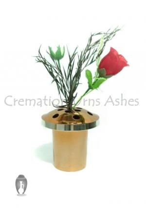 14 Cm Long Vases for Grave with Copper Finish for Flowers