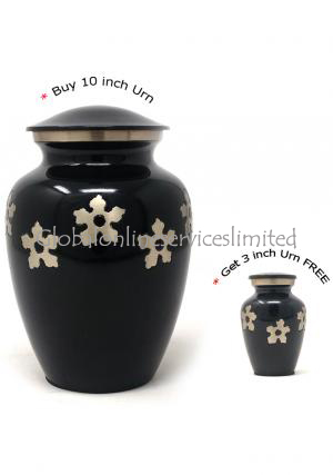 Adult Forget-me-not Cremation Urn + FREE Small Keepsake Urn
