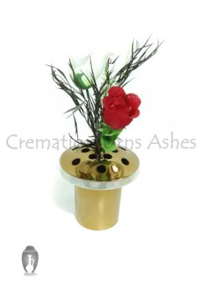 Aluminium Grave Vases for Flowers in Brushed Brass Finish, 13.5 Cm Diameter & 14 Cm Long