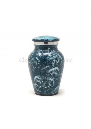 Aluminium Sliver Blue Keepsake Cremation Urn for Ashes