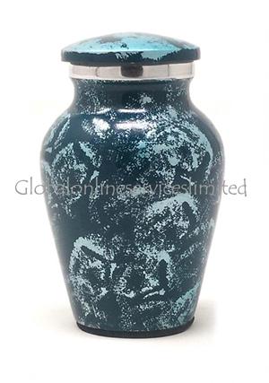 Aluminium Sliver Blue Keepsake Urn for Cremation Ashes (Small)