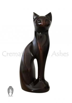Antique Brass Figurine Sitting Cat Urn for Cremation Ashes