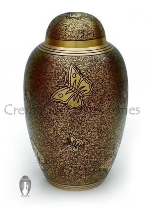 Antique Butterfly Engraved Brass Adult Urn Sprinkled Black Finish