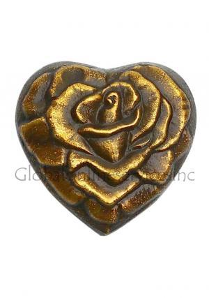Rose Engraved Antique Brass Heart Keepsake Funeral Ashes Urn