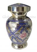 Arch Cremation Blue Floral Small Keepsake Memorial Urn For Ashes