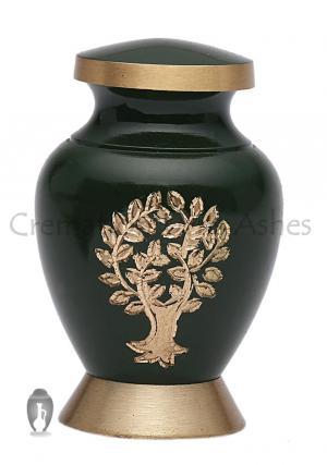 Aria Tree of Life Small Green Keepsake Urn for Human Memorial Ashes