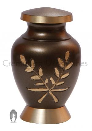 Aria Wheat Brass Cremation Keepsake Urn for Ashes
