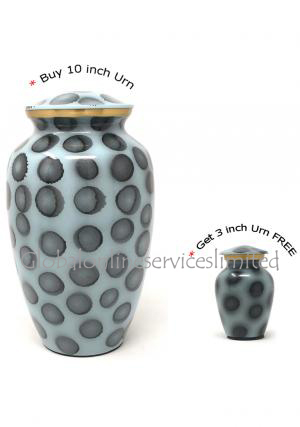 Ash and Gray Human Adult Memorial Urn Ashes+ FREE Brass Keepsake Urn (Large)