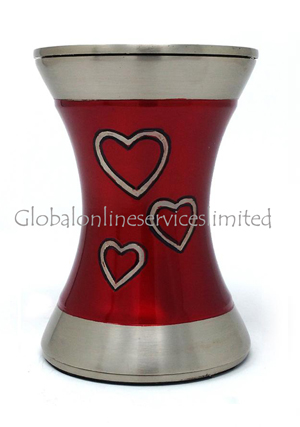 Beautiful Brass Loving Hearts Tealight Medium Cremation Urn For Human Ashes