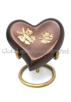 Beautiful Butterfly Heart Keepsake Brass Urn for Cremated Ashes
