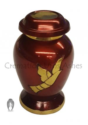 Beautiful Golden Flying Dove Small Keepsake Cremation Urn Ashes