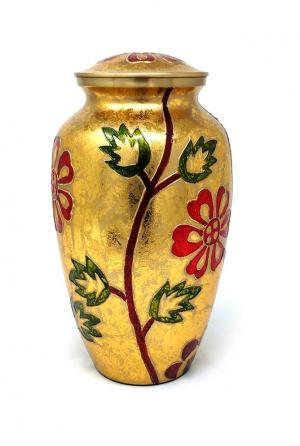 Beautiful Large Gold & Orange Floral Engraved Brass Adult Urn For Human Ashes.