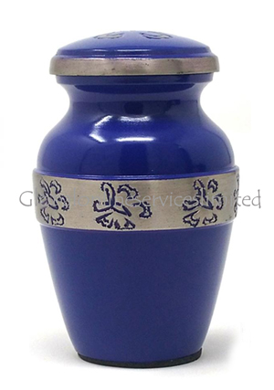 Beautiful Small Blue Urn With Nickel Butterfly Band Keepsake for Human Ashes (Small)