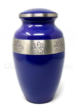Beautiful Blue Urn With Nickel Butterfly Band Large for Human Ashes