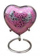 Beautiful Small Double Butterfly's Engraved Pink Heart Keepsake Urn for Ashes