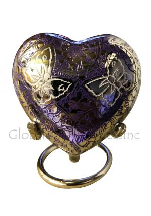 Beautiful Small Double Butterfly's Engraved Purple Heart Keepsake Urn for Human Ashes
