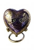 Beautiful Small Double Butterfly's Engraved Purple Heart Keepsake Urn for Human Ashes (Purple)