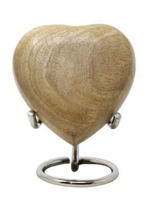 Beautiful Small Unpolished Wooden Heart Keepsake Urn For Ashes (UnPolished)