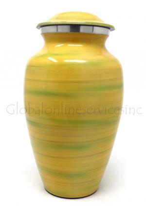 Yellow & Green Detailed Decorative Large Aluminium Adult Urn For Human Ashes.