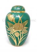 Big Dome Top Green Large Floral Adult Funeral Human Ashes Urn