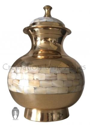 Big Mother Of Pearl Adult Funeral Brass Urn for Cremation Ashes UK