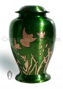Birds In Flight Green Color Big Funeral Adult Urn Ashes