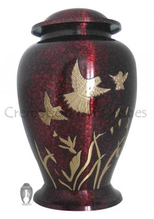 Birds In Flight Red Color Big Funeral Adult Urn Ashes