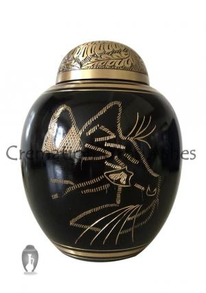 Black Engraved Cat Flower Dome Funeral Container For Ashes
