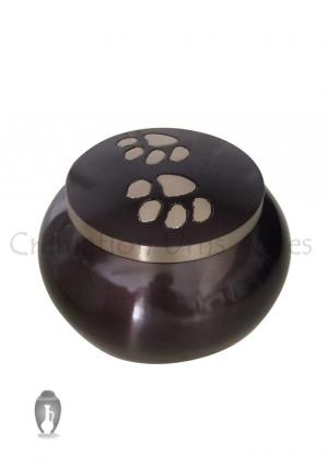 Black Nickle Paw Print Pet Dog/Cat Memorial Urn For Ashes