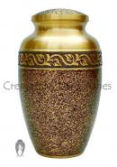 Black Speckled Adult Cremation Urn for Ashes in Engraved Band Finish.