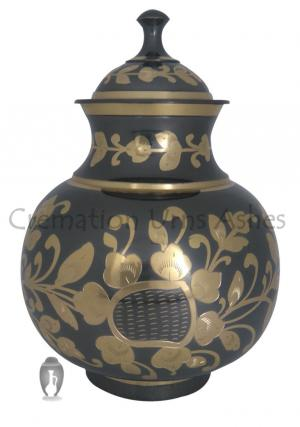 Black & Golden Floral Human Adult Memorial Urn Ashes