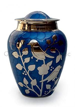 Blessing Silver Birds Medium Urn (Blue and Silver)