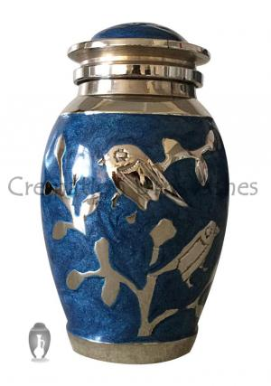 Blessing Silver Birds Small Blue Keepsake Urn for Funeral Human Ashes