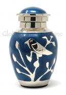 Blessing Silver Birds Small Keepsake Urn (Blue and Silver)