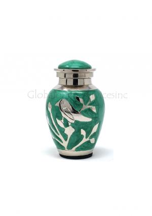 Blessing Silver Birds Small Keepsake Urn (Green and Silver)