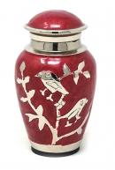 Blessing Silver Birds Small Keepsake Urn (Red and Silver)
