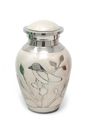Blessing Silver Birds Small Keepsake Urn (white and Silver)