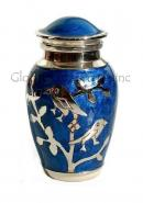 Blessing Silver Twin Birds Small Keepsake Urn (Blue and Silver)
