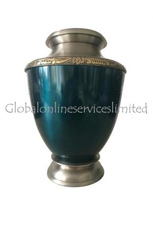 Blue Finish Antique Hand Engraved Border Adult Urn