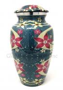Blue Floral Aluminium Large Cremation Urn for Human Ashes
