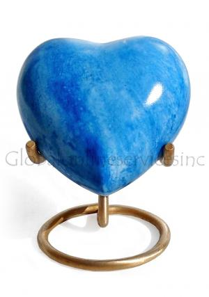 Blue Heart Keepsake Urn for Memorial Ashes, Brass Made