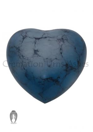 Blue Iris Aluminium Heart Keepsake Urn for Cremated Ashes