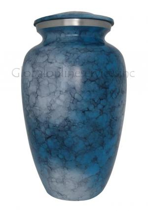 Blue Iris Aluminium Large Adult Urn For Ashes