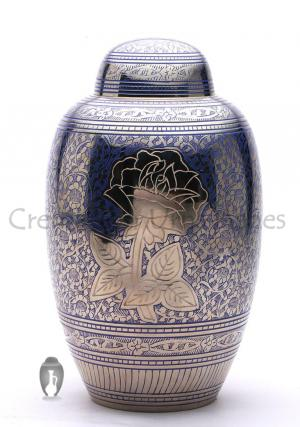 Blue Rose Flower Engraved Large Adult Memorial Urn for Human Ashes, Brass Urn