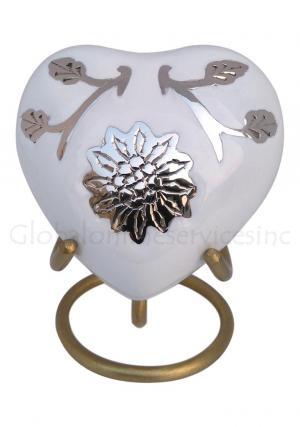 Brampton White Heart Keepsake Small Urn