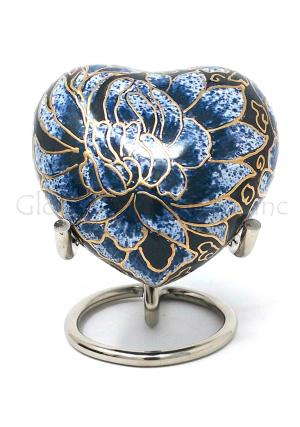 Brass Flower Heart Keepsake Funeral Urn (Blue)