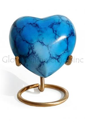 Brass Heart Keepsake Urn for Small Ashes, Sky Blue