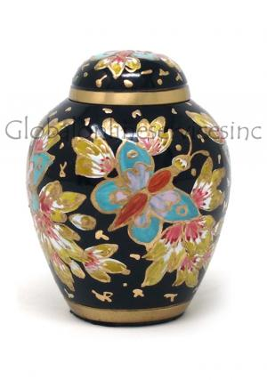 Brass Keepsake Floral Blush Urn for Cremation Ashes