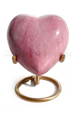 Brass Made Heart Urn for Keepsake Cremation Ashes (Pink)
