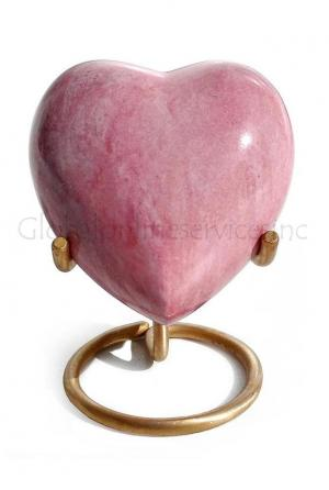 Brass Made Heart Urn for Keepsake Cremation Ashes (Pink)